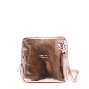 VERA PELLE Stamp Genuine Italian Real Leather Small/ Mini Classic Cross Body bag