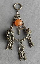 Old Vintage Antique Chinese Silver Filigree Carnelian Pendant Hair Ornament