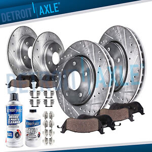 Front  and Rear DRILLED SLOTTED Brake Rotors + Ceramic Brake Pads Scion tC Rotor