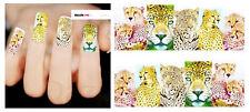 Nail Art de transferencia de agua Pegatina Adhesivos Decorativos leopardos Gato calcomanías (DX1475)