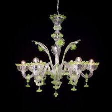 Lustre en verre de Murano 6 lumières cristal vert