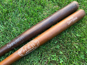 Vtg Lot 2 1950s H&B HIllerich Bradsby & Superior Brand Softball Baseball Bats