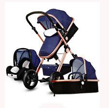 Luxury Baby Stroller 3 in 1 High view Pram foldable pushchair bassinet&Car Seat