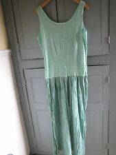 Vintage 90s French Connection Green & White Stripe Long Maxi Dress Small UK 10