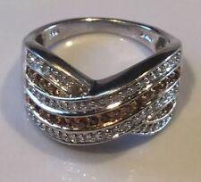 Saffron Champagne & White Diamond Ring Sz. 8  81diamonds .78tcw MSRP $1719