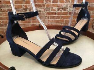 Isaac Mizrahi Navy Blue Suede Triple Strap Mabel Block Heel Dress Sandal 12 New