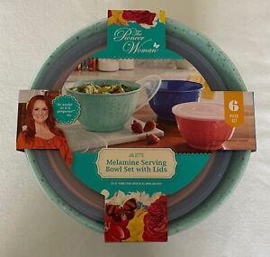 The Pioneer Woman 6 pc Juliette Speckled Melamine 3 Serving Bowls & Lids Set NEW