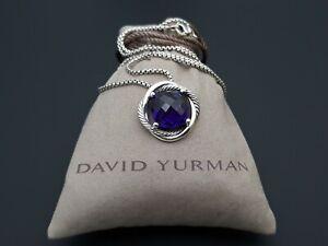 David Yurman Sterling silver 925 Infinity 14mm Amethyst Pendant Necklace 18chain