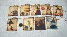 9~Halloween~Vintage~Witch ~Wicca~Samhain~Linen Cardstock~Gift~Hang~Tags