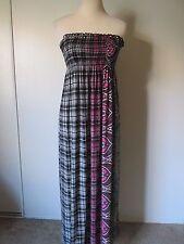 Romeo&Juliet Couture Mult-Color Plaid Paisley Shirred Bust Strapless Dress SZ: M