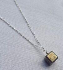 Pyrite Cube Necklace, Gemstone, Empath, Energy Shield, Block Negative Energy