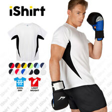 MENS TEES T-SHIRT 100% POLYESTER COOL DRY BREATHABLE ACTION SIDE PANEL TEE