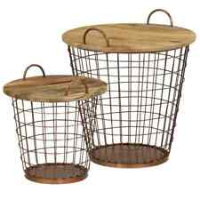 vidaXL Solid Mango Wood Coffee Table/Basket Set 2 Piece 55x50cm Furniture