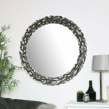 Large Round Silver Leaf Mirror decorative french ornate chic wall mounted