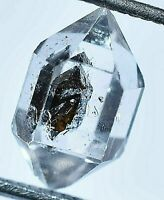 Extremely Rare Herkimer Diamond Water Clear Quartz Crystal Anthraxolite Rough