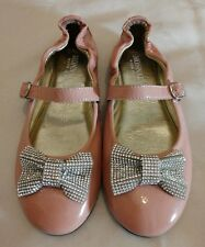 Monnalisa Ballerina Bambine Rosa Cuoio Scarpa Fiocco Diamante UK1.5 eu34