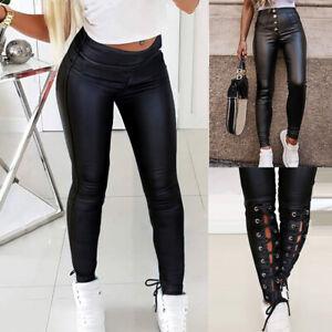 Ladies Women Wet Look PU Leather Pants High Waist Leggings Stretch Pant Trousers