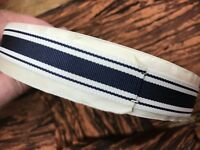 """Vintage 1940's Rayon 5/8 """" Grosgrain Ribbon 1yd Stripe NAVY & White Reversible"""