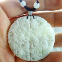 100% Chinese jade hand-carved the statue of dragon and phoenix PENDANT  E