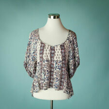 Free People XS Size Top Prined Aztec Floral Boho Flutter Kimono Oversize Loose