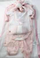 Little Beginnings Girls Layette Set Pink Sparkle Holiday Reindeer 9 Pc Pink Gift
