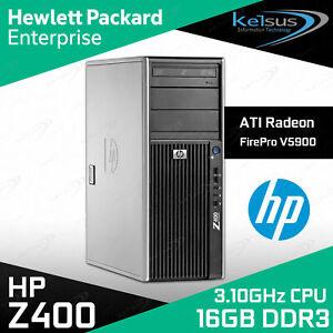 HP Desktop PC Z400 Intel Quad Core W3550 3.10 GHz 16GB RAM 500GB FirePro V3900