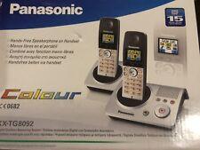 Panasonic KX-TG8092 DECT Schnurlostelefon mit AB Farbdisplay Twin Pack (2er Set)