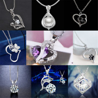 925 Silver Heart Cute Pendant Women Flower Charm Chain Necklace Fashion Gift HOT