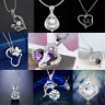 925 Silver Heart Cute Pendant Women Flower Charm Chain Necklace Jewelry Gift HOT
