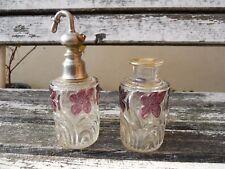 1 flacon et 1 vaporisateur cristal St Louis décor fleurs violettes XIXème