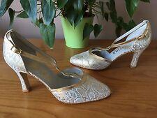 Zapatos De Cuero señoras Sorina oro y crema con Tiras Tribunal UK 3.5 EU 36.5 nupcial