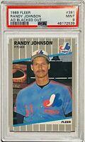 "RANDY JOHNSON ROOKIE 1989 FLEER #381 ""Add Blacked Out"" - PSA GRADED MINT 9"