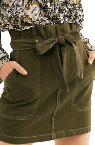 Free People  Splendor In The Grass paperbag Skirt Army US 0/ uk 6/8 new