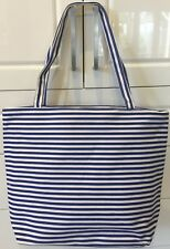 Canvas Tote Carry Bag / Beach Bag Navy Blue and White Stripes New