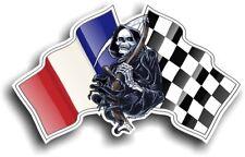 Grim REAPER Muerte Diseño con Francia Bandera Francesa 130x80mm Pegatina de vinilo coche