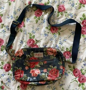 Cath Kidston Blue & Pink Roses Cotton PVC Oilcloth Crossbody Bag