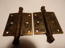 """Antique Door Hardware Ornate Cast Iron Hinge 2.5"""" X 2.5"""" 1880's Pair"""