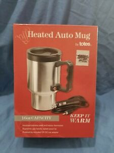 New Heated Auto Mug Insulated Cup By Totes 16 oz 12V DC Adapter Cord