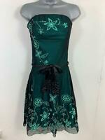 WOMENS JANE NORMAN BLACK/GREEN EMBROIDER STRAPLESS PARTY/COCKTAIL DRESS SIZE 12