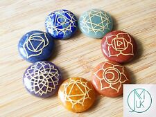 Energy Charged Crystal 7 Chakra Set Engraved Gemstones with Pouch Healing Reiki