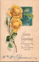 Vintage Postcard Roses Heartiest Congratulations Posted US Postage One Cent