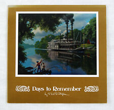 Vintage 1970's Paul Detlefsen Old River Days Color Foil Etch Fold Out Card