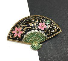 Vintage Estate Pink Green Black Enamel Oriental Fan Brooch Pin Gold Tone FF314e