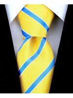 Scott Allan Mens Striped Necktie - Yellow and Light Blue Mens Tie