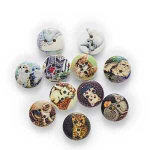 50pcs Cute Cat Printing Wood Buttons for Sewing Scrapbooking Handwork Decor 15mm