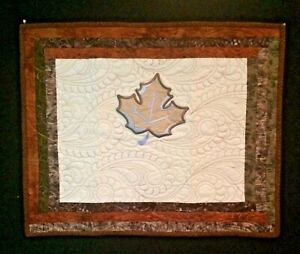 Embroidered Leaf Art Quilt Wall Hanging 24in x 20in Organza Over Cotton Handmade