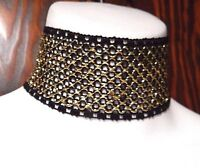 BLACK GOLD FISHNET BAND CHOKER collar cyber industrial goth wide necklace new N2