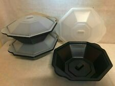 100 OCTAGONAL CASSEROLE DISH WITH LIDS MICROWAVE FREEZER SALAD CAKES STACKABLE