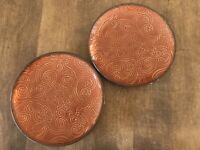 Set of 2 - TABLETOPS UNLIMITED LAGUNA BROWN SALAD PLATE EMBOSSED FLORAL SCROLLS