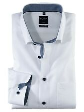 """Mens Shirt Olymp Luxor Modern Fit 18.5"""" Pure Cotton Long Sleeve White Contrast"""